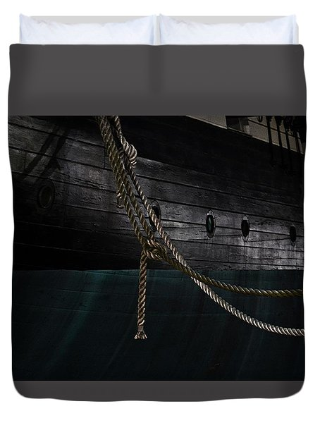 Ropes On The Uss Constellation Navy Ship Duvet Cover