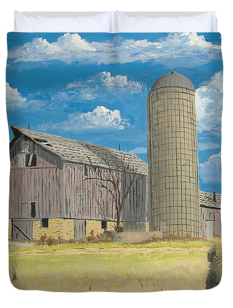 Duvet Cover featuring the painting Rorabeck Barn by Norm Starks