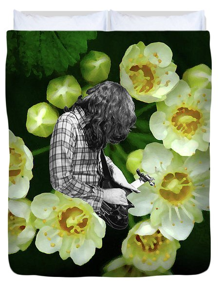 Duvet Cover featuring the photograph Rory Flower by Ben Upham