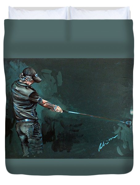 Rory Mcilroy Trick Shot 2010 Duvet Cover by Mark Robinson