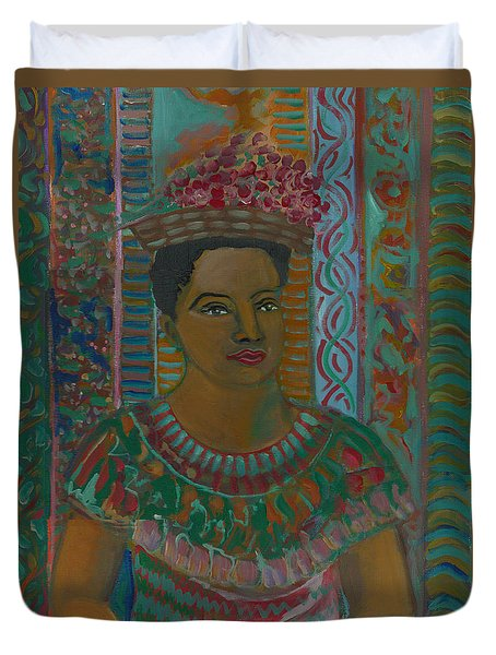 Duvet Cover featuring the painting Rosa by John Keaton
