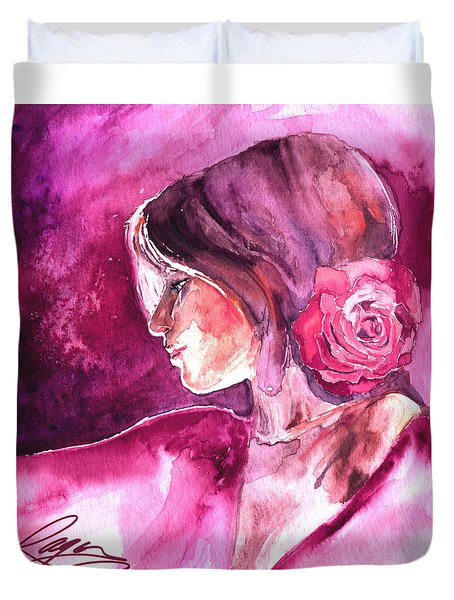 Duvet Cover featuring the painting Rosa by Ragen Mendenhall
