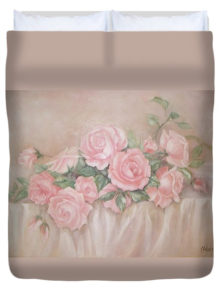 Rose Abundance Painting Duvet Cover by Chris Hobel