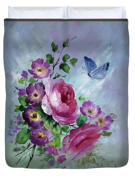 Rose And Butterfly Duvet Cover by David Jansen