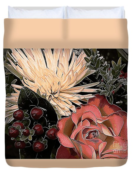 Rose And Chrysanthemum Duvet Cover by Erica Hanel