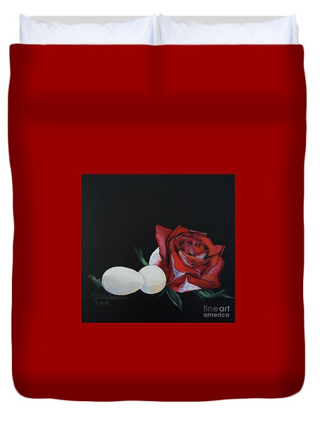 Rose And The Eggs Acrylic Painting Duvet Cover