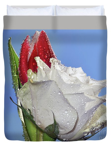 Duvet Cover featuring the photograph Rose And Tulip by Elvira Ladocki