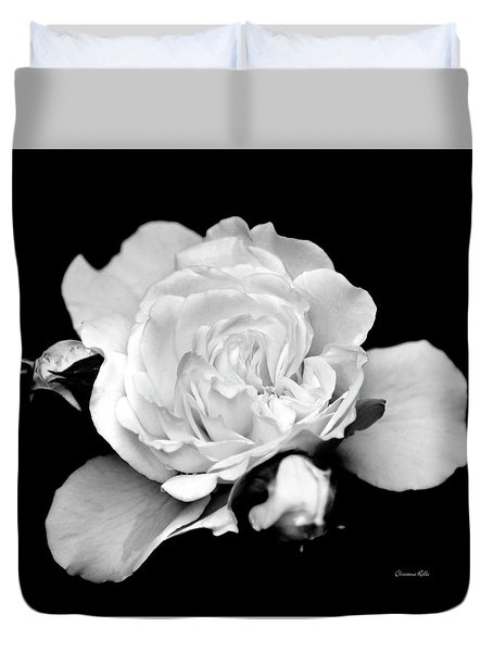 Duvet Cover featuring the photograph Rose Black And White by Christina Rollo