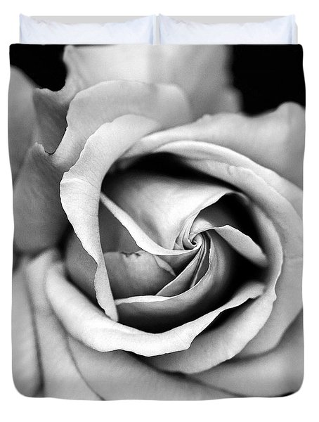 Rose Black White Macro Rose Closeup - Paris Roses Black White Art Print Home Decor Duvet Cover