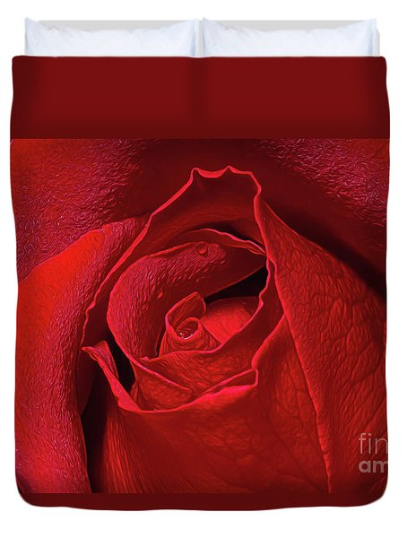 Duvet Cover featuring the photograph Rose Bud by Ray Shiu