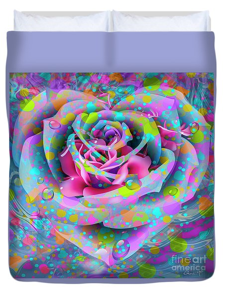 Duvet Cover featuring the digital art Rose by Eleni Mac Synodinos