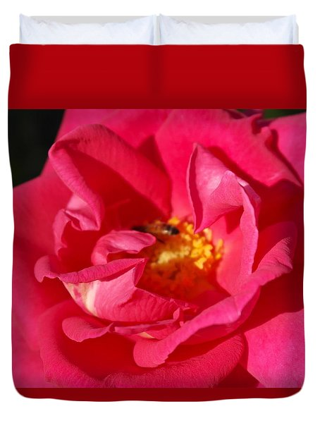 Duvet Cover featuring the photograph Rose Enfolds The Worker by Michele Myers