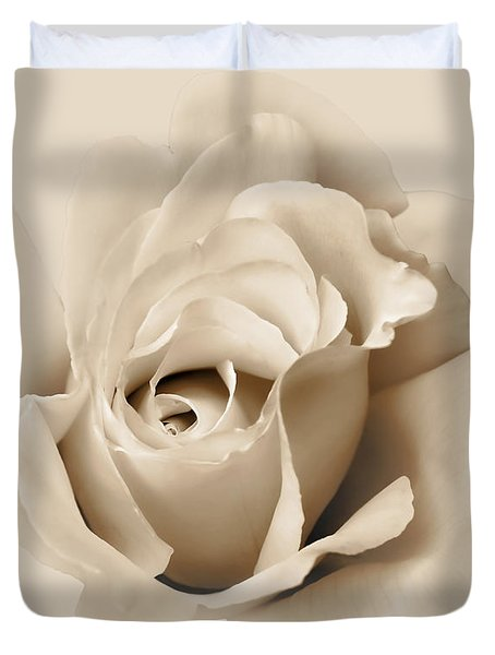Duvet Cover featuring the photograph Rose Flower Soft Beige by Jennie Marie Schell