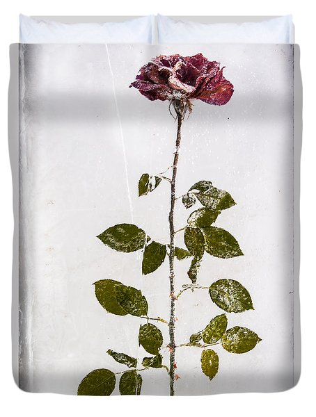 Rose Frozen Inside Ice Duvet Cover