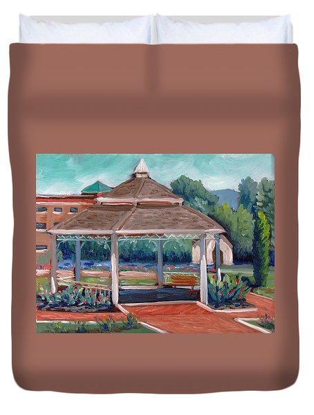 Rose Garden Gazebo Duvet Cover