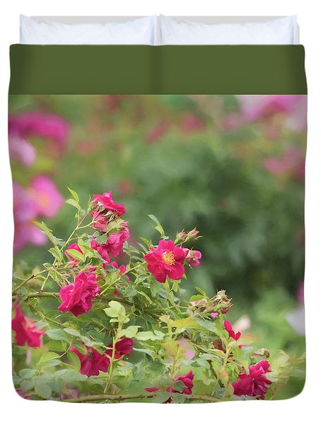 Duvet Cover featuring the photograph Rose Garden Promise by Kim Hojnacki