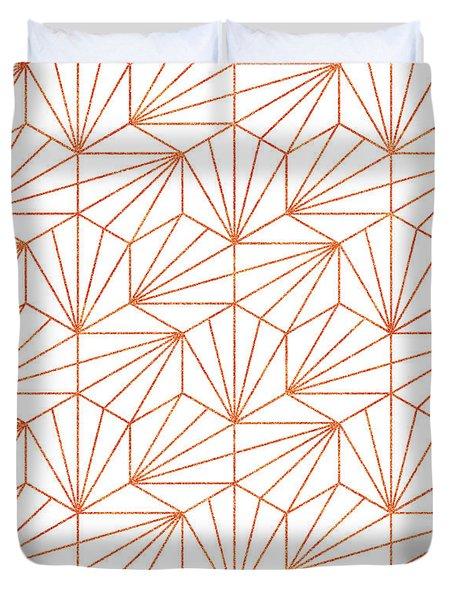 Rose Gold And White Duvet Cover