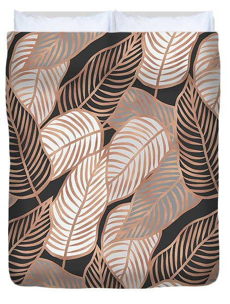 Rose Gold Jungle Leaves Duvet Cover