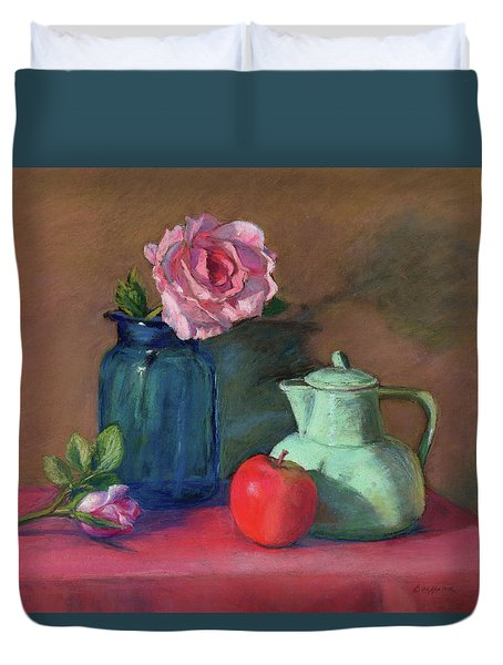 Rose In Blue Jar Duvet Cover