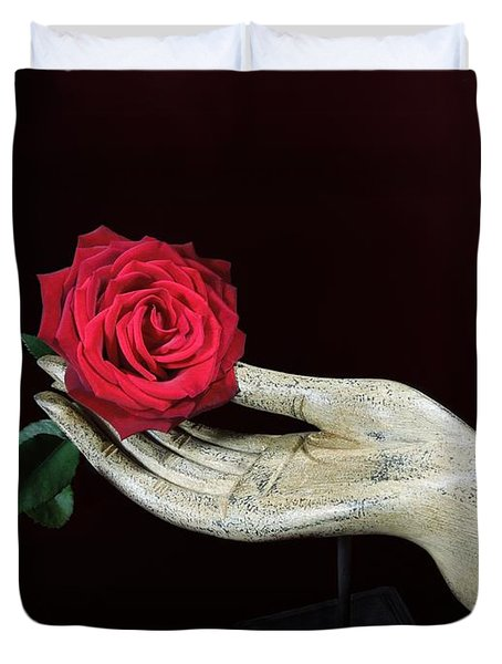 Rose In Hand Duvet Cover by Renee Trenholm