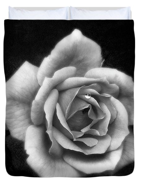 Rose In Mono. #flower #flowers Duvet Cover by John Edwards