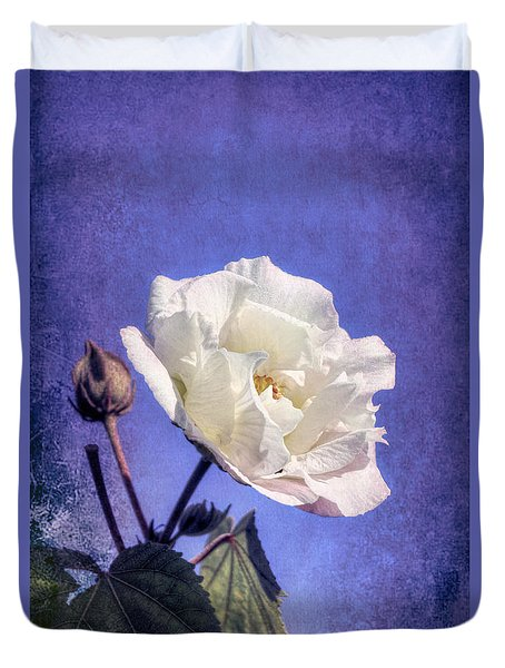 Duvet Cover featuring the photograph Rose Of Sharon In Blue Fog by Elaine Teague