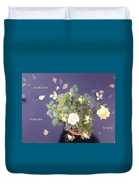 Rose On Glass Table With Loving Wishes Duvet Cover