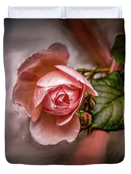Duvet Cover featuring the mixed media Rose On Paint #g5 by Leif Sohlman