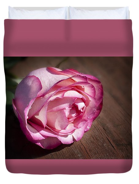 Rose On Wood Duvet Cover