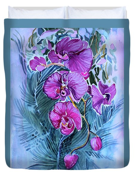 Duvet Cover featuring the painting Rose Orchids by Mindy Newman