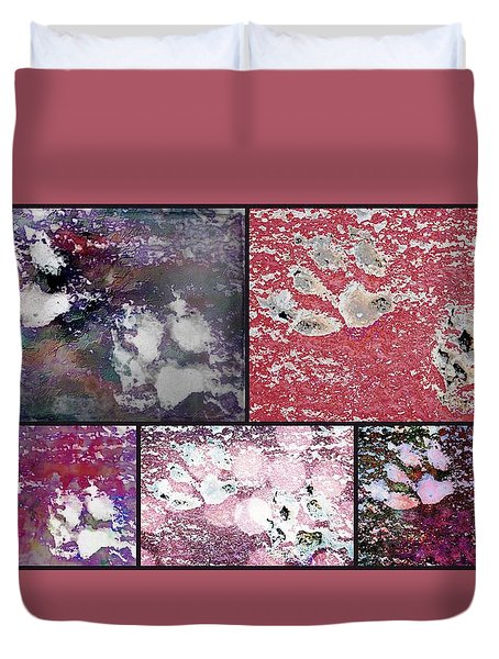 Rose Paw Print Collage Duvet Cover