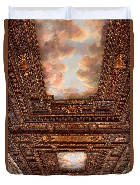 Duvet Cover featuring the photograph Rose Reading Room Ceiling by Jessica Jenney