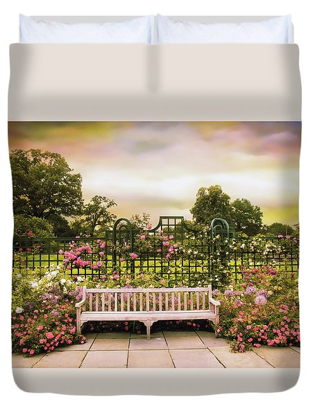 Duvet Cover featuring the photograph Rose Respite by Jessica Jenney