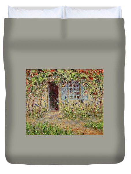 Rose Trees At The Front Of The House Duvet Cover