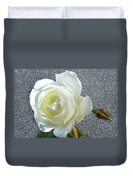 Duvet Cover featuring the photograph Rose With Some Sparkle by Terence Davis