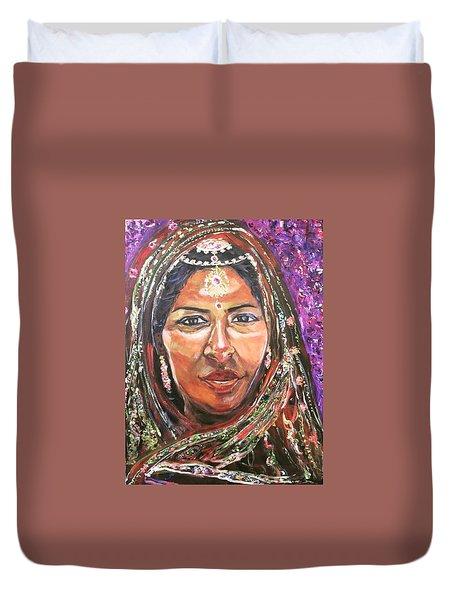 Duvet Cover featuring the painting Roseanne Kala - True Colors by Belinda Low