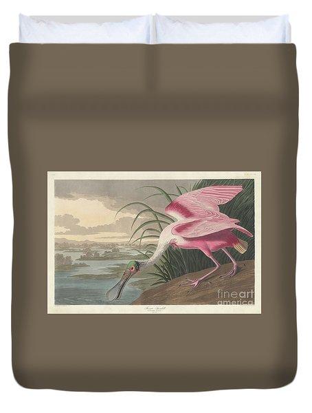 Roseate Spoonbill, 1836  Duvet Cover by John James Audubon