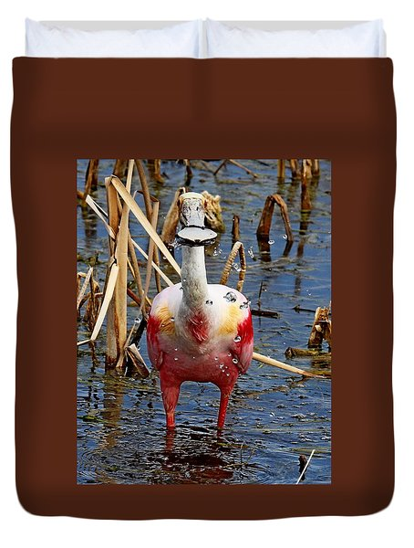 Roseate Spoonbill And Water Drops Duvet Cover