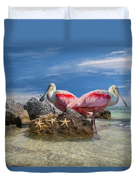 Roseate Spoonbill Florida Keys Duvet Cover