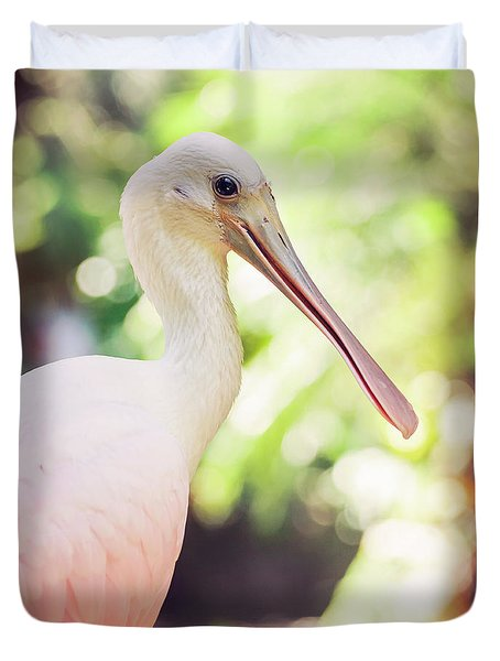Duvet Cover featuring the photograph Roseate Spoonbill by Heather Applegate