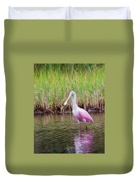 Duvet Cover featuring the photograph Roseate Spoonbill  by Patricia Schaefer