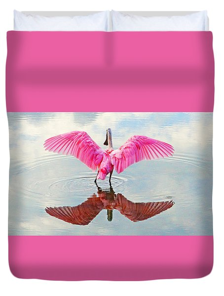 Roseate Spoonbill Pink Angel Duvet Cover