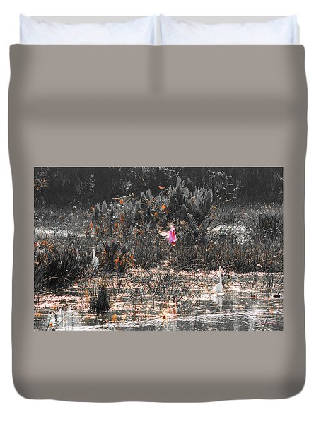 Roseate Spoonbill Select Color Duvet Cover by Ken Figurski
