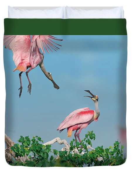 Roseate Spoonbills Duvet Cover by Tim Fitzharris