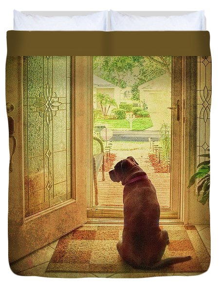 Duvet Cover featuring the photograph Rosebud At The Door by Lewis Mann