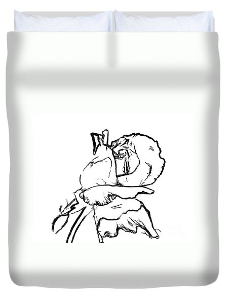 Duvet Cover featuring the drawing Rosebud Drawing by Smilin Eyes  Treasures