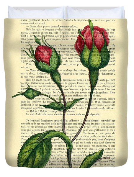 Rosebud Illustration On A Vintage Dictionary Book Page Duvet Cover