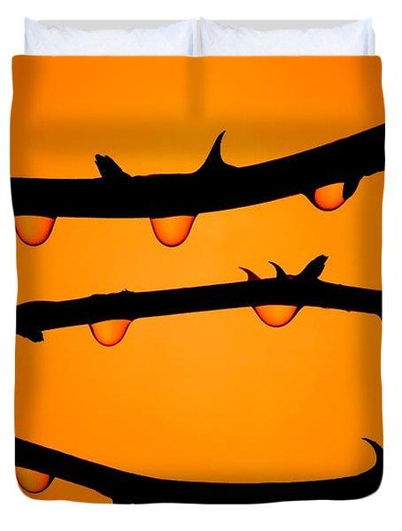 Rosebush Silhouette Duvet Cover
