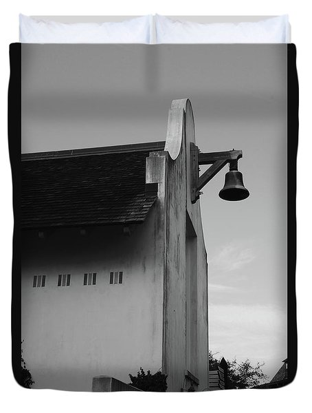 Rosemary Beach Post Office In Black And White Duvet Cover