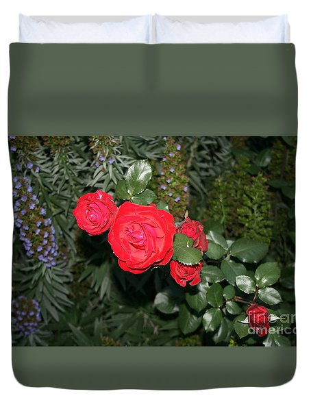 Duvet Cover featuring the photograph Roses Among by Cynthia Marcopulos